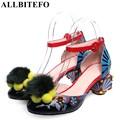 Allbitefo 2017 nova marca de moda couro genuíno das mulheres do salto médio sapatos de festa flores bombas das mulheres do salto grosso bombas de primavera