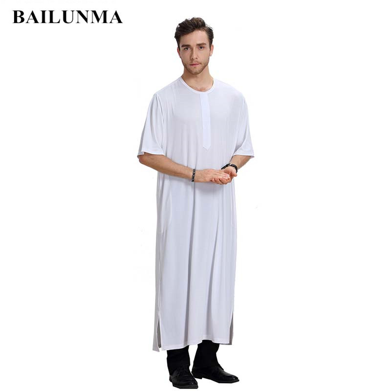 O-neck men robe muslim clothes Short sleeves Gray BTH807