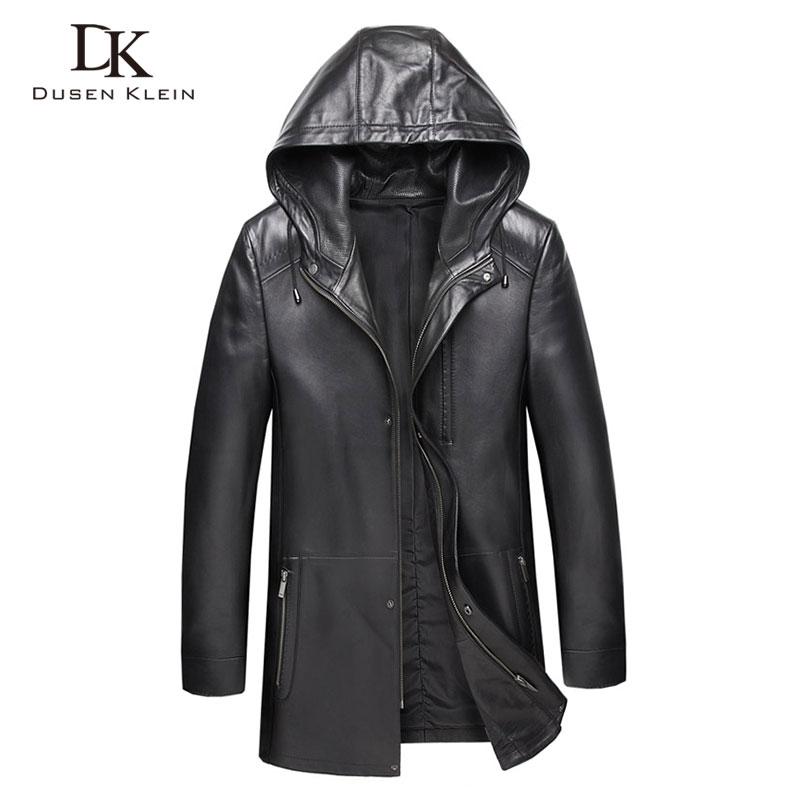 De cuero genuino de los hombres chaqueta con capucha chaquetas de cuero 8XL de gran tamaño Casual de piel de oveja Real chaqueta 9028