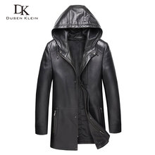 Men Genuine Leather Jacket Hooded Jackets 8XL Big Size Casual Real Sheepskin 9028