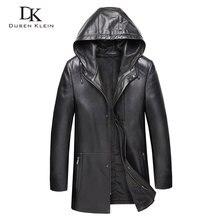Men Genuine Leather Jacket Hooded Leather Jackets 8XL Big Si