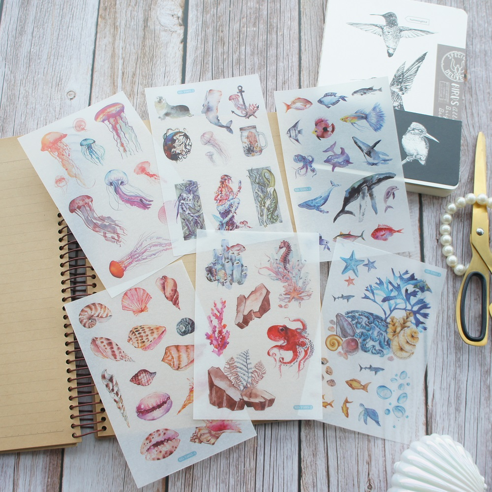 6 Sheets Marine Mythology Goddess Shell Design Washi Paper Sticker As Scrapbooking DIY Gift Packing Decoration Tag