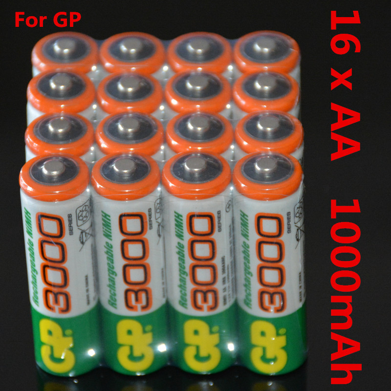 16 PCS/lot Wholesale For GP AA 1.2 V Ni-MH 1000mAh AA Rechargeable batteries' toys
