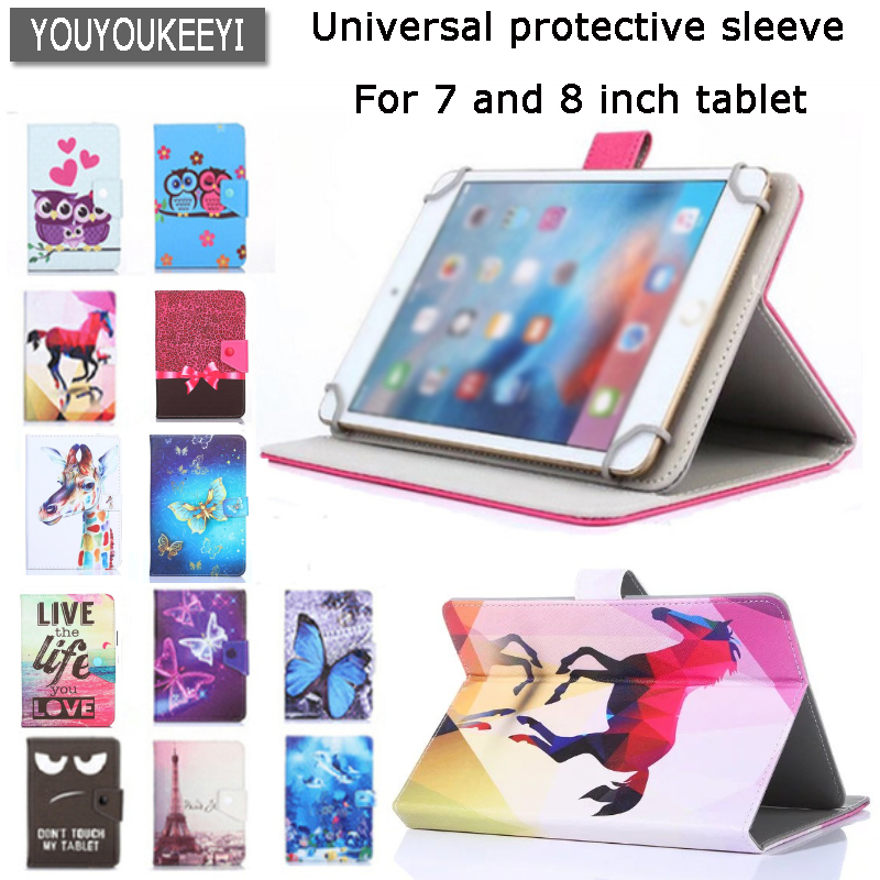 Universal Cover case for Prestigio MUZE 3708/3718 3G/WIZE 3418/3518 4G 8 inch Tablet Cartoon Printed PU Leather Case +gift ювелирное изделие 31860