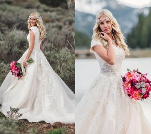 Image 3 - Nieuwe Baljurk Lace Tulle Modest Trouwjurken Met Kapmouwtjes Sweetheart Country Western Bruidsjurken Modest Mouwen
