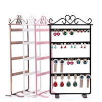 48Holes Jewelry Organizer Holder Black Metal Necklace Earring Display Stand Rack Showcase Packaging H2001