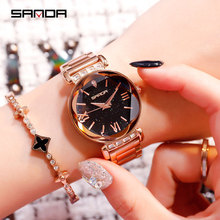 SANDA New trend simple womens watch fashion personality big dial starry steel belt ladies
