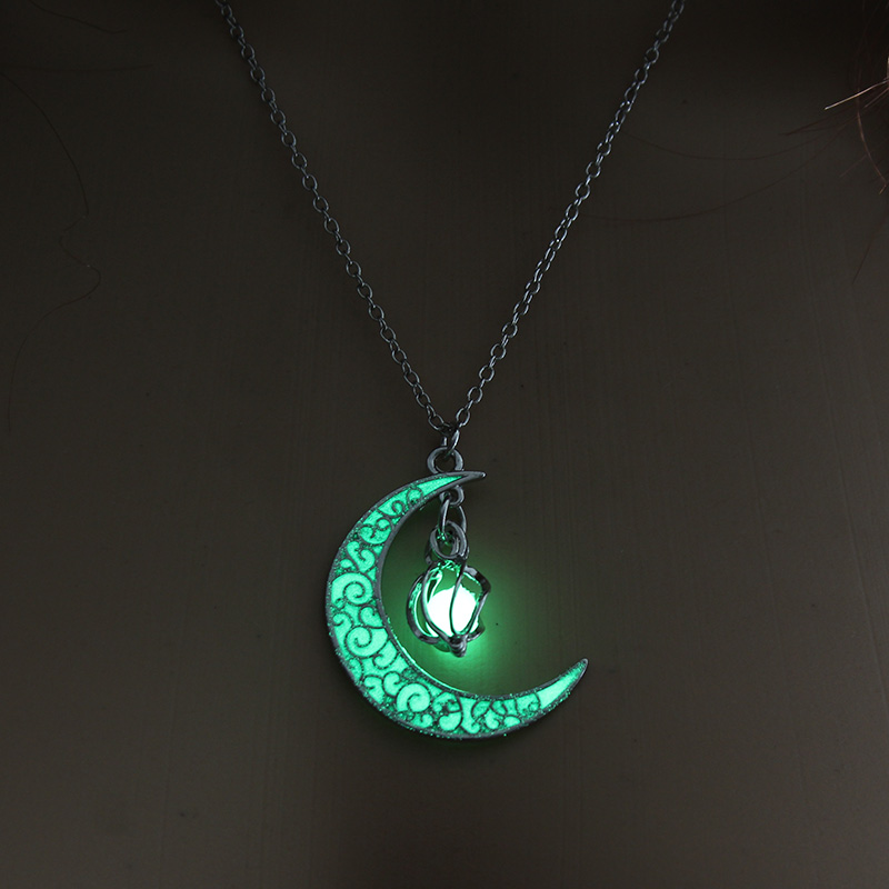 Moon Glowing Necklace Gem Charm Jewelry Silver 5