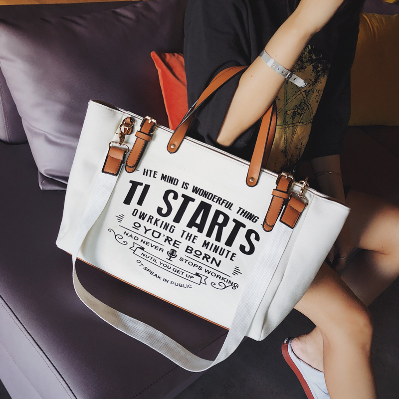 Luxury Ladies Bags Canvas Fashion Large Capacity Tote Bags Letter Shoulder Messenger Bags for Women 2018 Casual Tote Luis Vuiton 3