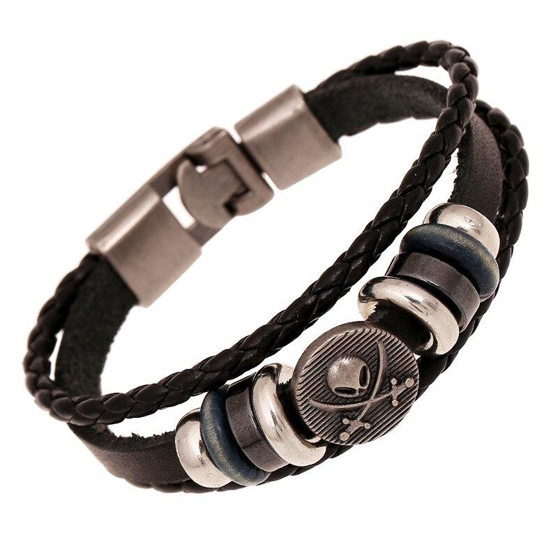 Easy-hook Pirate Style Braided Woven Genuine Leather Bracelets Skull Punk Jewelry Bangles Bileklik For Women Men Wristband Bead