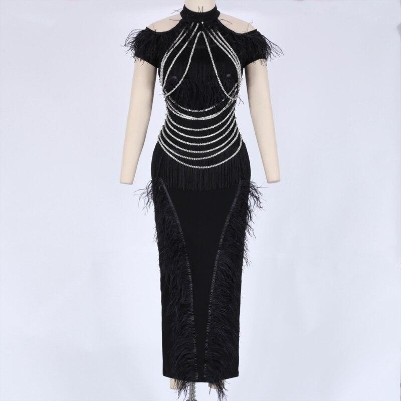 Maxi Moulante Mode Décoration Manches Robe Hw304 Noir black Plume Ocstrade Cap Halter w0gWzR7xqI
