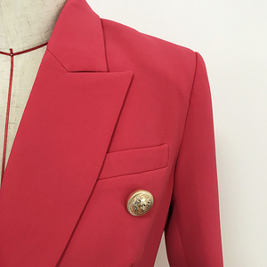 Image 4 - 高品質最新 2020 デザイナーブレザー女性のダブルブレスト金属ライオンボタンスリムフィットブレザージャケットスイカ赤