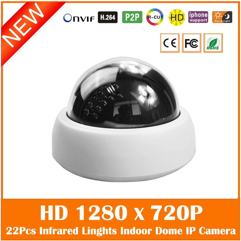 Hd 720p Dome Ip Camera Indoor Infrared Night Vision Cctv Surveillance Security Motion Detect White Cmos Webcam Freeshipping hd 720p ip camera onvif black indoor dome webcam cctv infrared night vision security network smart home 1mp video surveillance