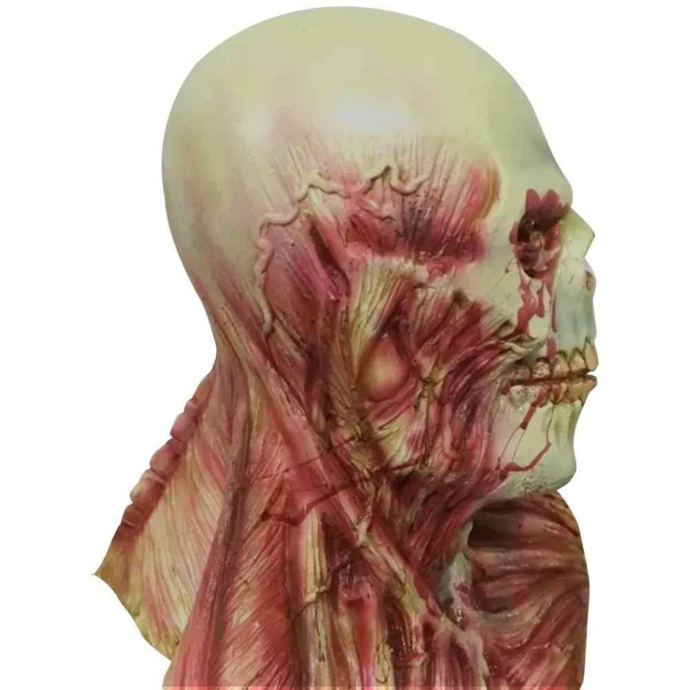 Krwawe Zombie maska Halloween straszne maski Party Cosplay czaszki diabeł Horror maska Masquerade tusz do rzęs duch Horror uszne maski lateksowe