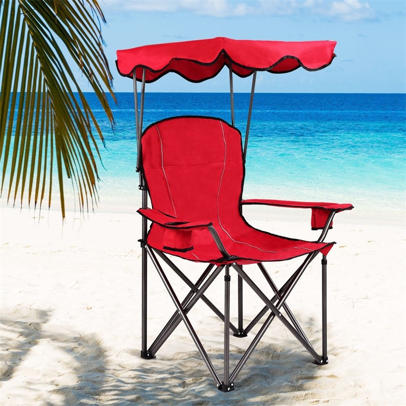 Portable Folding Beach Canopy Chair With Cup Holders Camping Chairs Outdoor Furniture OP3640RE