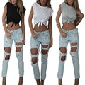 Hot New 2016 Summer Sexy Women's Crop Tops Short Sleeve harajuku T Shirt Punk bustier crochet Cropped Top camiseta feminina Z1