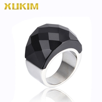 TSR223 Xukim Jewelry stainless steel ring gold wedding ring woman ring new hot fasion glass ring