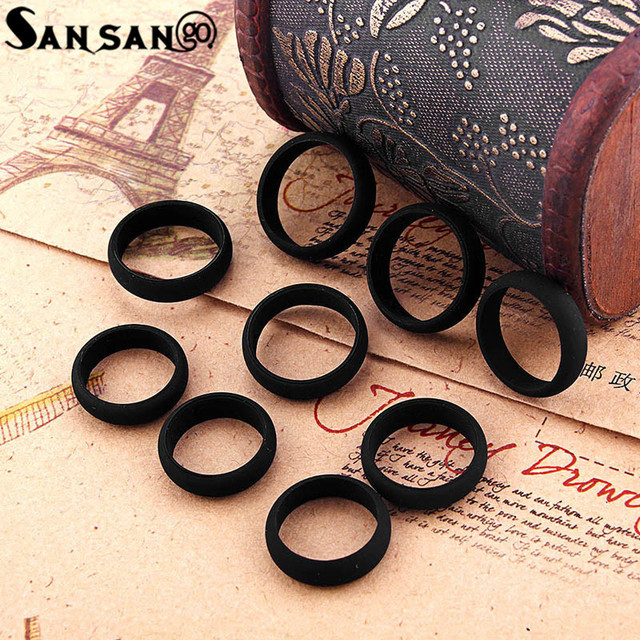 Trendy Black Color Environmentally Silicone Rings Size 5-9 Soft Flexible Punk St