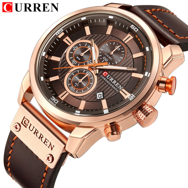 Mens Watches Fashion Casual Chronograph Quartz Watch Men Date Leather Sport Military Male Clock Reloj Hombre CURREN 8291 ochstin sport watches for men fashion casual chronograph watches men leather sport male quartz watch male clock hour yellow face