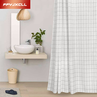 Fashion White Polyester Shower Curtain Waterproof Mold Proof Eco Friendly Endless Bath Curtain Hot Bathroom Products