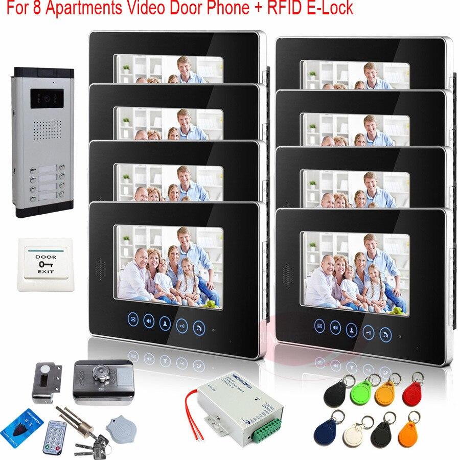 Video Door Phone Intercom Doorbell Night Vision Touch keys For 8 Apartments HD 700lines CCD Camera +RFID Electronic lock! авто маркер new brand