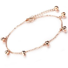 Small Bells Pendant Woman Ankle Bracelet Jewelry Vintage Rose Gold Plated Stainless Steel Fashion Anklets