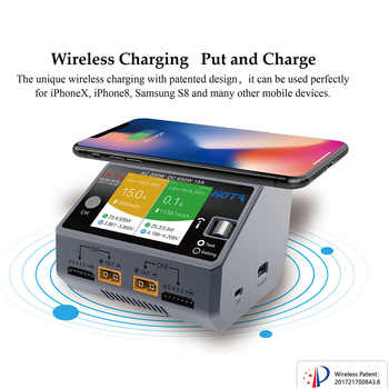HOTA D6 Dual D6 Pro Smart Charger AC200W DC650W 15A for Lipo LiIon NiMH Battery with iPhone Samsung Wireless Charging