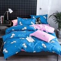 Cartoon zebra and tree leaf printing duvet cover set blue with pink AB side design lovely kids bedding set 4 pieces bed set sale
