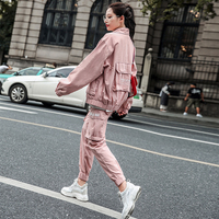 Retro Fashion Women's Sets Multi pocket Jacket + Pants Women Spring Elegant Pink Outfits Coat And Trousers Casual Two Piece Set