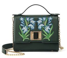 Embroidery flowers buckle chain bag, spring and summer new fashion portable shoulder diagonal bag