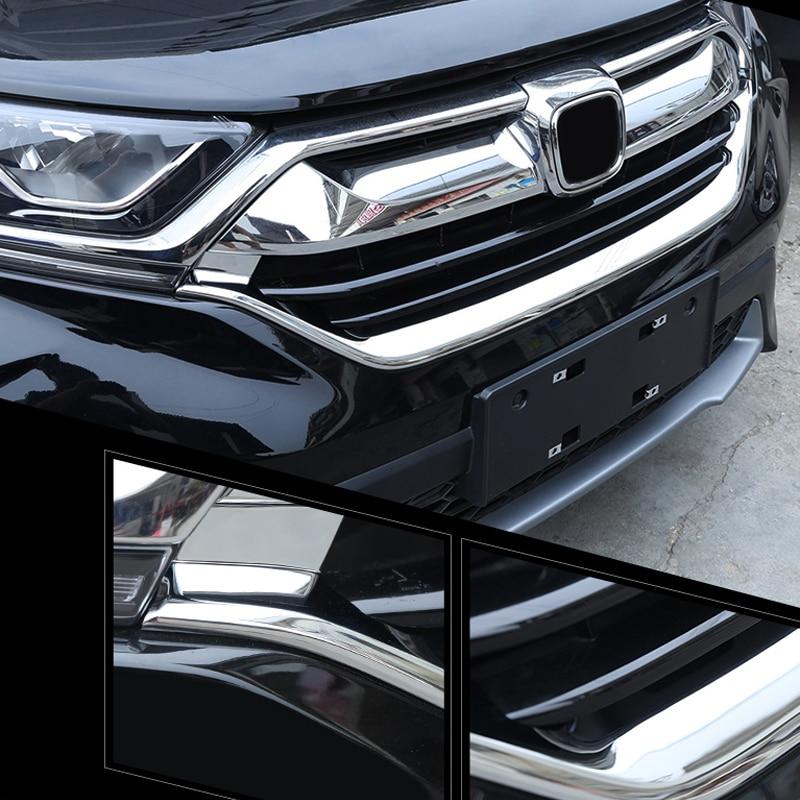 Chrome Front Bottom Grill Grille Cover Trim 2pcs For Honda CR-V CRV 2017-2018