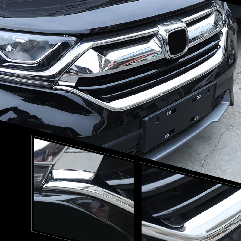 Exterior Front Radiator Grille U-Shaped Mouldings For Honda CR-V CRV 2017 2018 exterior 5pcs abs chromed front center radiator grille mouldings for mercedes vito 2014 2017 w447