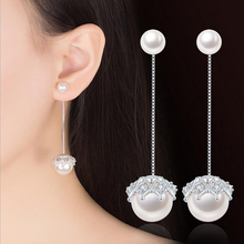 Detachable Lace Pearl 925 Sterling Silver Tassel Drop Earrings For Woman Imitation Ladies Long