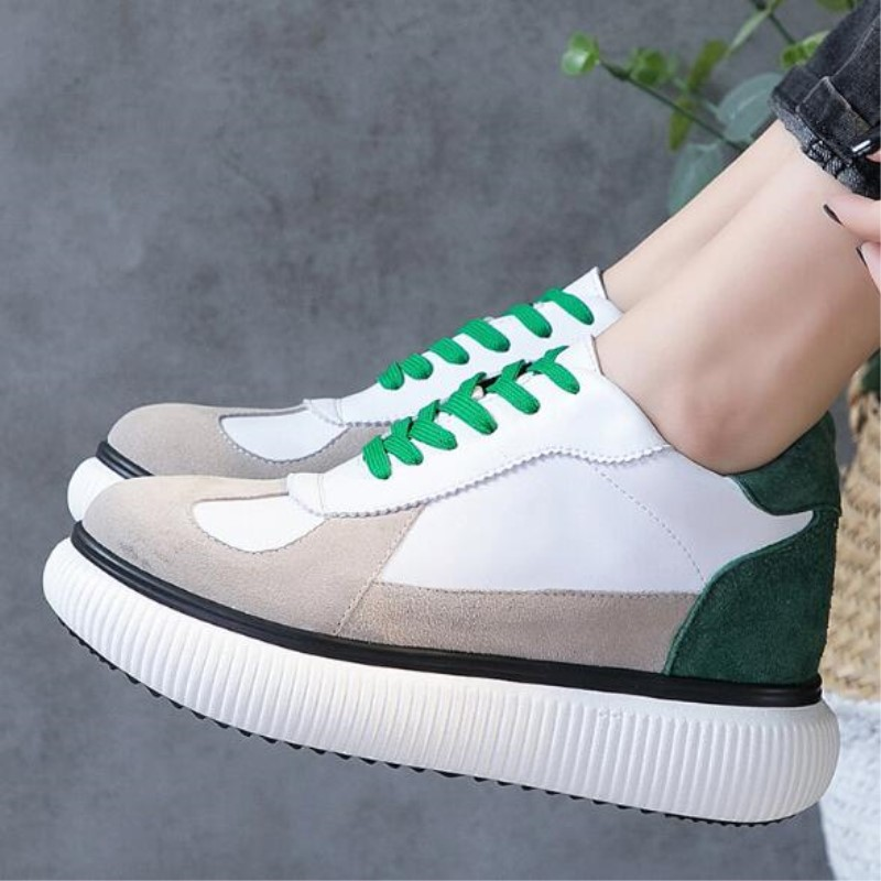 119e679d9809 ... genuine Sneakers Casual Fashion 2018 Korean Sneaker women color Shoes  Leather spell casual New Platform shoes