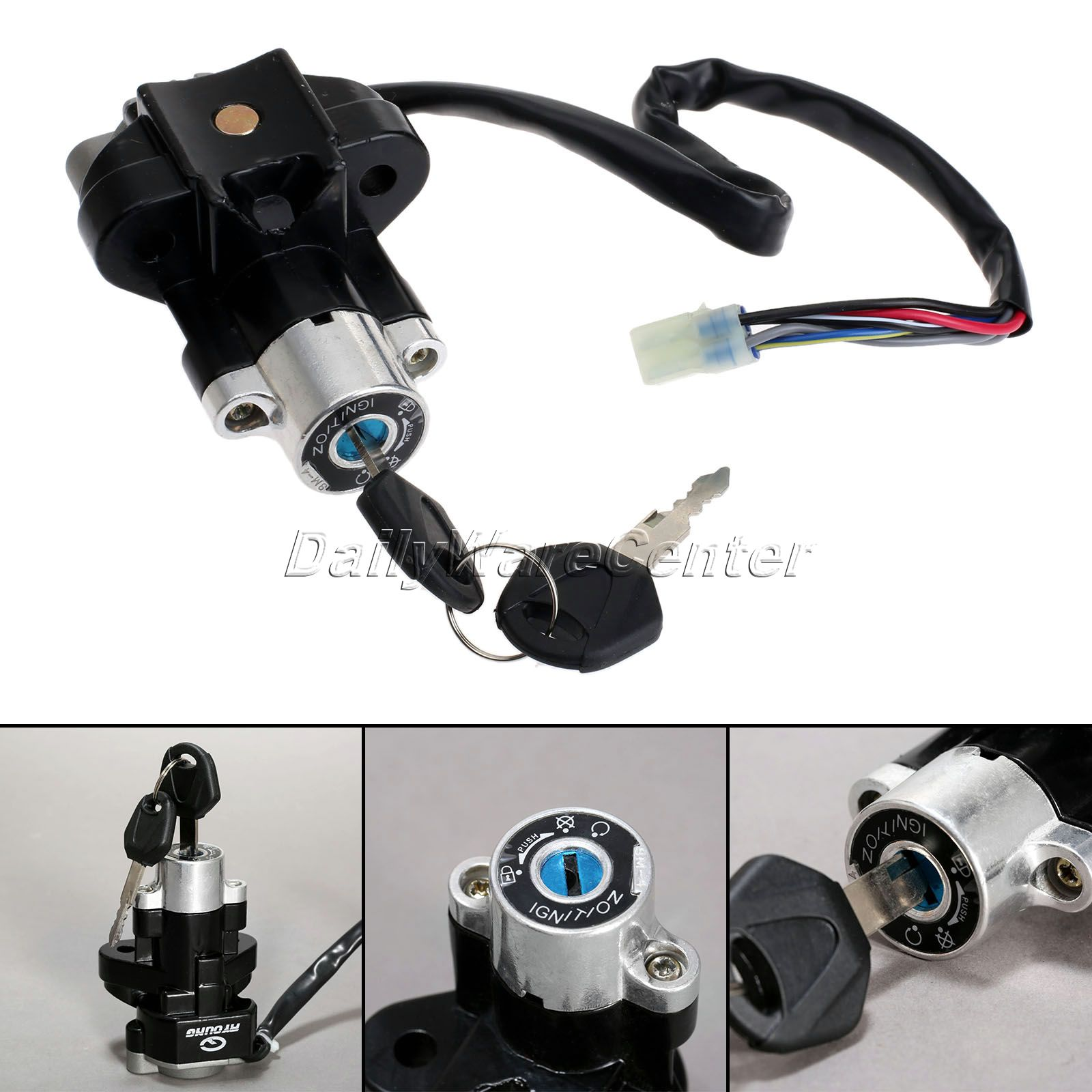 Motorcycle Ignition Switch Lock with Keys Aluminum for Suzuki GSXR 600 750 GSX-R600 GSX-R750 Pitbike Scooter Motorbike Parts cdi image