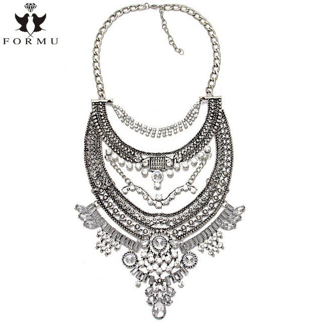 KQMX Exaggerated Necklace Design Rhinestone Big Pendant High Quality Vintage Statement Necklaces Pendants For Women NK921