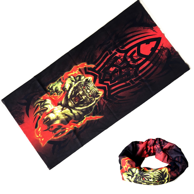 1PCS Motorcycle Men Scarf Halloween Bicycle Ski Face Mask Tiger Green Ghost Skull Neck Warmer Bandanas