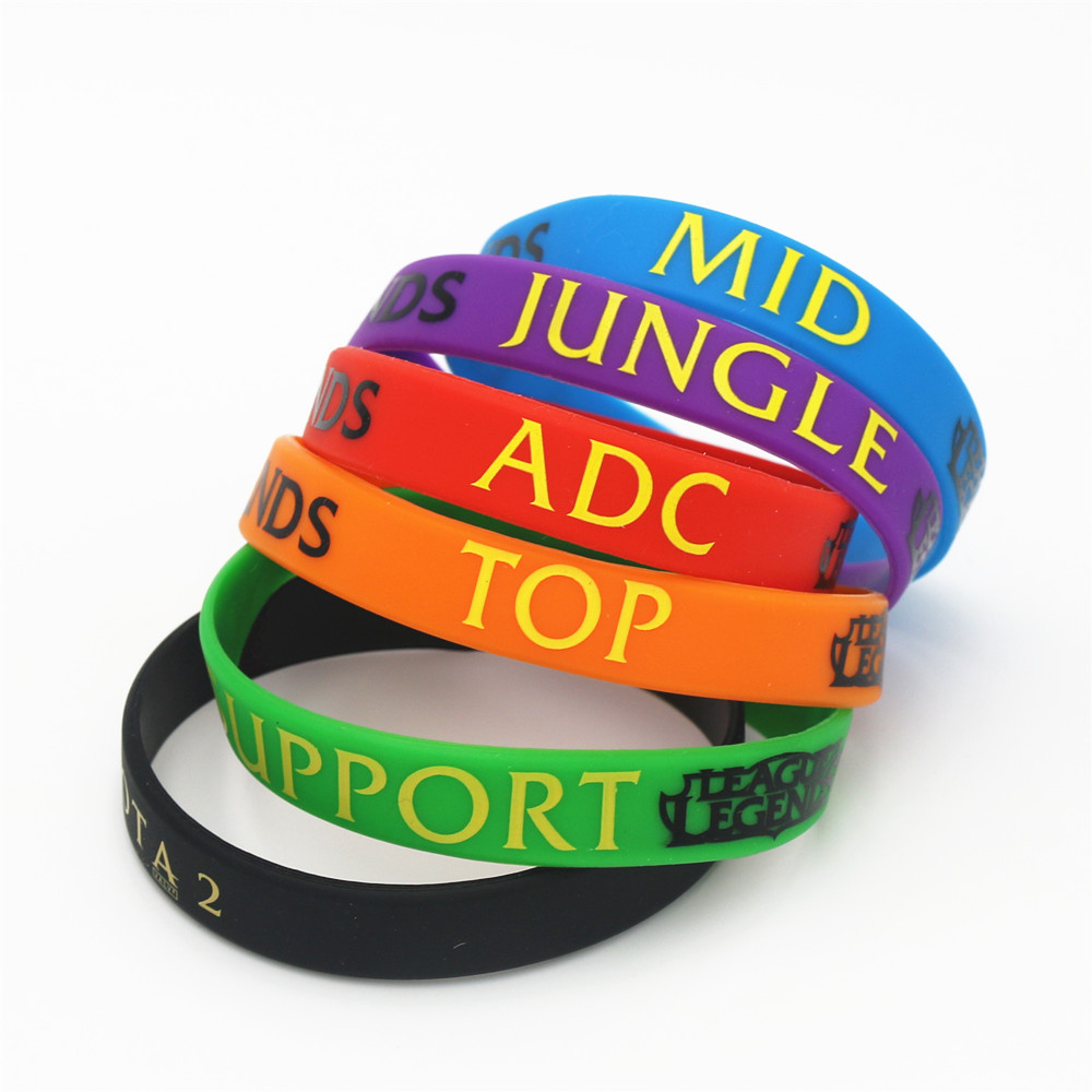 Confident 12pcs/lot Lol Bracelet League Of Legend Wristband Silicone Bracelet With Adc, Jungle, Mid, Support, Dota 2 Printed Band Sh001