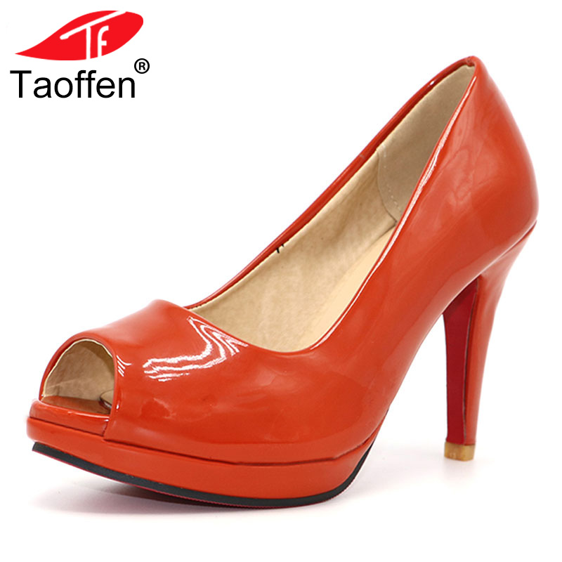 TAOFFEN Free shipping news high heel peep toe shoes women dress footwear patent leather sexy pumps P3141 hot sale size 31-43 free shipping high heel wedge shoes women sexy dress footwear fashion pumps p10767 eur size 34 43
