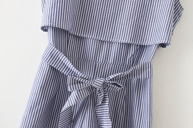 VOGUE!N New Womens Ladies Elegant Sleeveless Striped Print O Neck Bow Tie Playsuits Jumpersuit