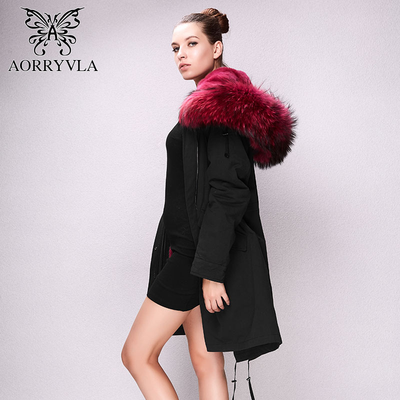 AORRYVLA 2017 New Winter Fur Parkas For Women Deep Blue Color Canvas Fabric Raccoon Fur Collar Long coat Real Rabbit Fur Lining 2017 winter new clothes to overcome the coat of women in the long reed rabbit hair fur fur coat fox raccoon fur collar