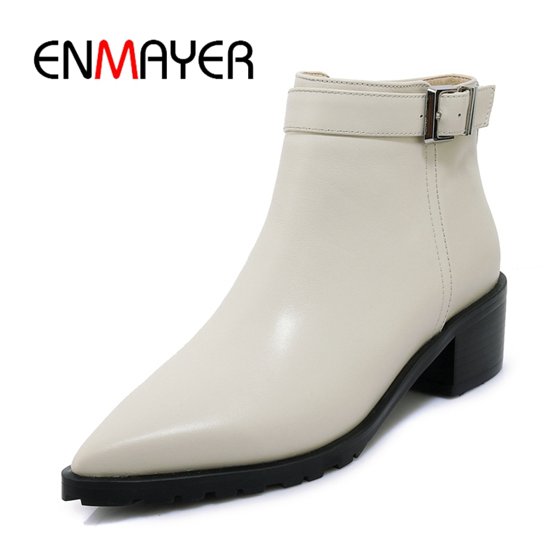 ENMAYER  Pointed Toe  Basic  Genuine Leather  Ankle  Square Heel  Zapatos De Mujer  Women Shoes  Boots Women Size 34-39 ZYL1841ENMAYER  Pointed Toe  Basic  Genuine Leather  Ankle  Square Heel  Zapatos De Mujer  Women Shoes  Boots Women Size 34-39 ZYL1841