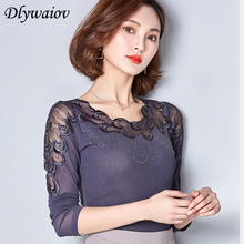 Lace Embroidery Female Chiffon Shirt  Autumn Winter Sexy Bottoming Women Tops 2018 Plus Size Long Sleeve Blouses