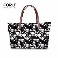 FORUDESIGNS Skull Design Woman Handbags Ladies Tote Bags Causal Shoulder Bag Cool Punk Style Large Shopping