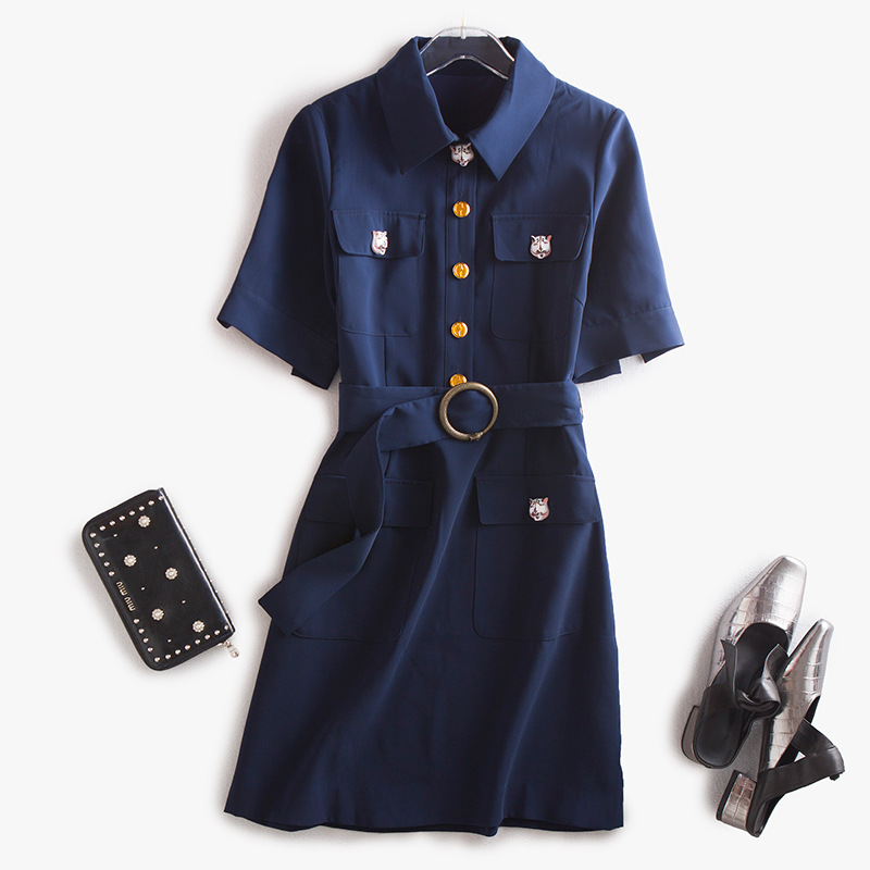High quality Denim dress Wholesale A Supply Of Goods Single Row Buckle Dress Summer New Pattern