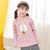 Kids Warm Knitted Cartoon Sweater Girls Winter Sweet Rabbit Sweater Pullover Children Comfort Long Sleeve Soft Knitwear AA60513
