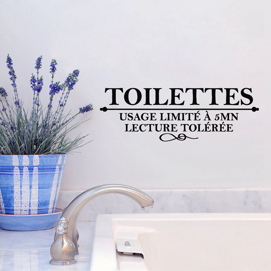 Buy french toilet wall stickers usage for Stickers muraux