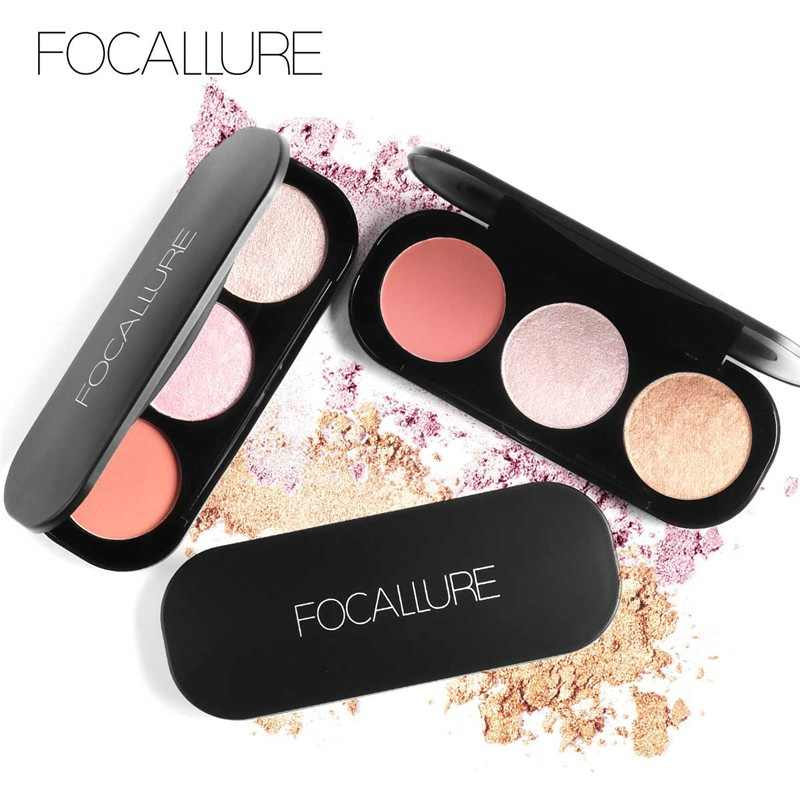 Focallure 3 Warna Stabilo Palet Blush On Mencerahkan Makeup Pigmen Powder Illuminator Stabilo
