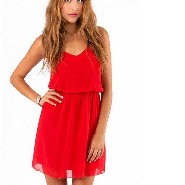 8c87f3ef55e 2018 Summer new Style Chiffon Party Dress Women Casual V neck Beach Dress  Sleeveless Red Black Sweet Mini Dresses Plus Size