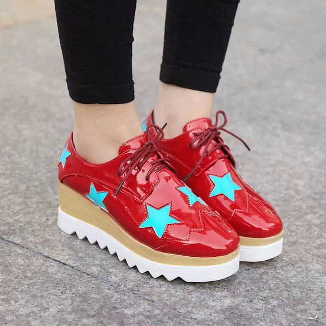 2015 Style Stars Vintage Womens Round Toe Patent Leather Flat Platform Oxford Lace up Derby Shoes Size 35-39 Brogue Shoes PX69 (8)